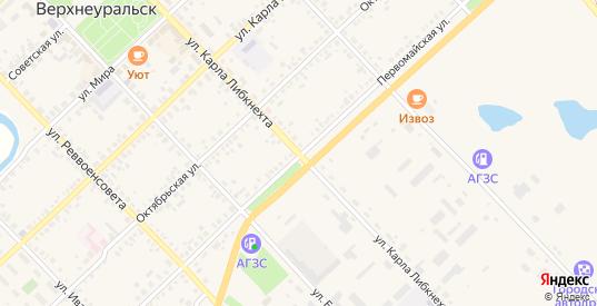 Улица Карла Либкнехта в Верхнеуральске с номерами домов на карте. Спутник и схема онлайн
