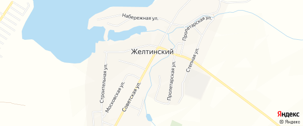 Карта Желтинского поселка в Челябинской области с улицами и номерами домов