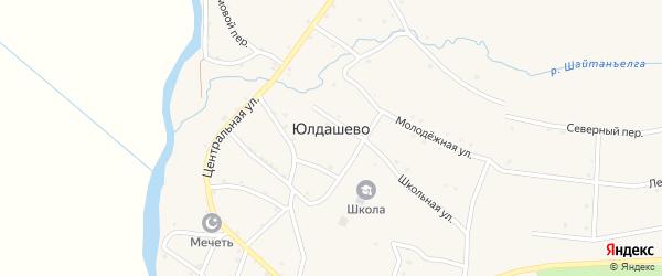 Переулок Дружбы на карте села Юлдашево Башкортостана с номерами домов