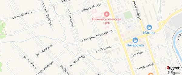 Коммунистическая улица на карте Нижние Серги с номерами домов