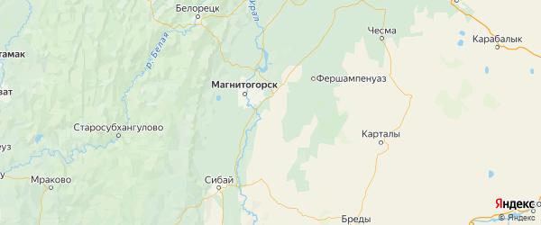 Карта Агаповского района Челябинской области с городами и населенными пунктами