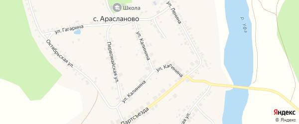 Улица Калинина на карте села Арасланово с номерами домов