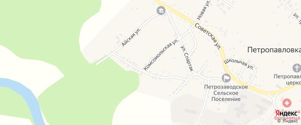 Комсомольская улица на карте села Петропавловки с номерами домов