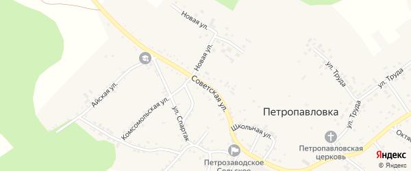 Советская улица на карте села Петропавловки с номерами домов