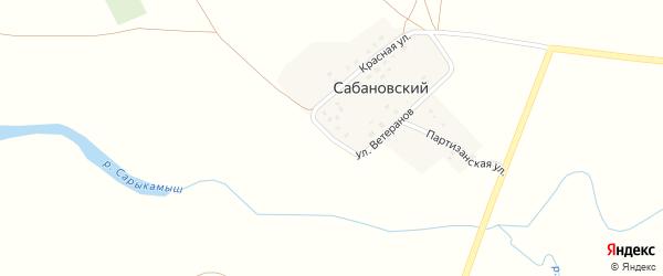 Улица Победы на карте Сабановского поселка Челябинской области с номерами домов