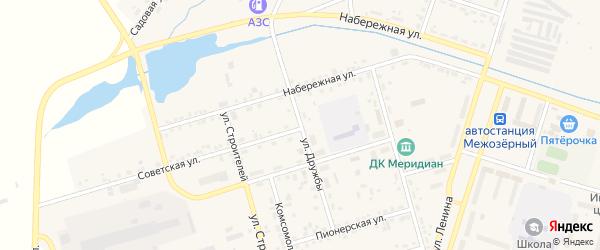 Улица Дружбы на карте Межозерного поселка Челябинской области с номерами домов
