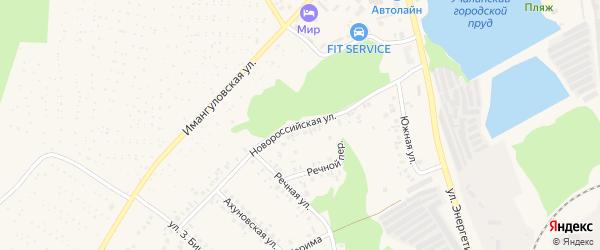 Новороссийская улица на карте Учалы с номерами домов