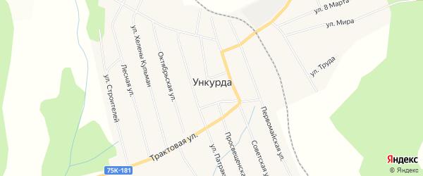 Карта села Ункурды в Челябинской области с улицами и номерами домов