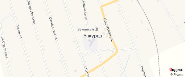 Просвещенская улица на карте села Ункурды Челябинской области с номерами домов
