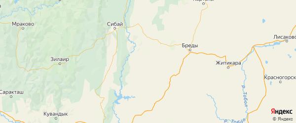 Карта Кваркенского района Оренбургской области с городами и населенными пунктами
