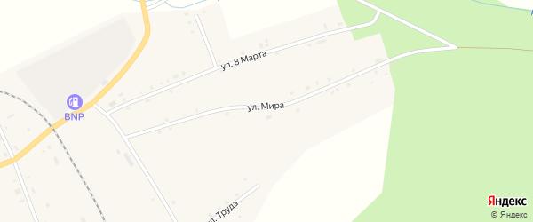 Улица Мира на карте села Ункурды Челябинской области с номерами домов