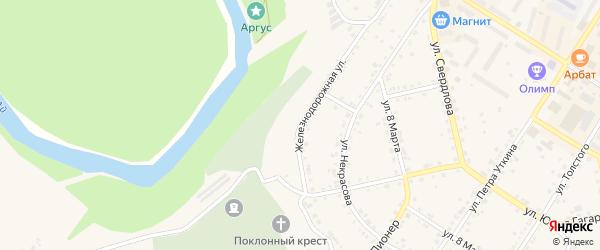 Железнодорожная улица на карте Кусы с номерами домов