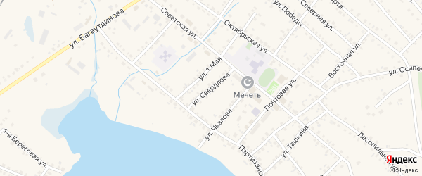 Улица Свердлова на карте села Учалы с номерами домов