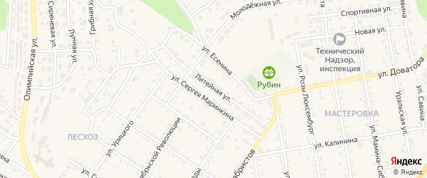 Литейная улица на карте Кусы с номерами домов
