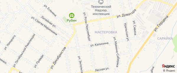 Улица Розы Люксембург на карте Кусы с номерами домов