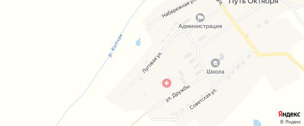 Луговая улица на карте поселка Пути Октября с номерами домов