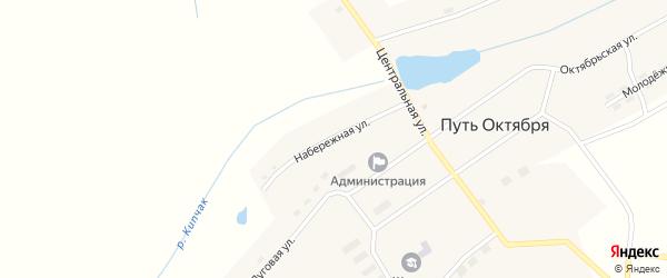 Набережная улица на карте поселка Пути Октября Челябинской области с номерами домов