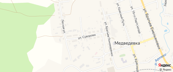 Улица Суворова на карте села Медведевки с номерами домов