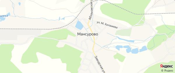 Карта деревни Мансурово в Башкортостане с улицами и номерами домов
