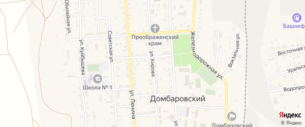 Улица Кирова на карте Домбаровского поселка Оренбургской области с номерами домов