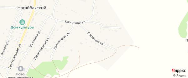 Восточная улица на карте Нагайбакского поселка Челябинской области с номерами домов