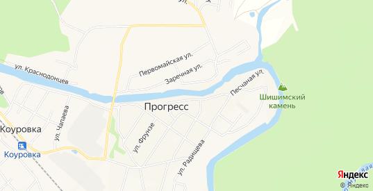 Карта поселка Прогресс в Первоуральске с улицами, домами и почтовыми отделениями со спутника онлайн