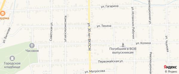 Улица 30 лет ВЛКСМ на карте Нязепетровска с номерами домов