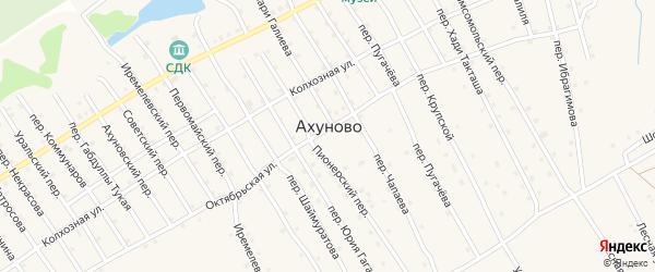 Башкирский переулок на карте села Ахуново с номерами домов
