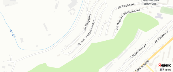 Красногвардейская улица на карте Златоуста с номерами домов