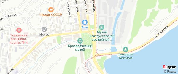 Территория ГК Прогресс на карте Златоуста с номерами домов