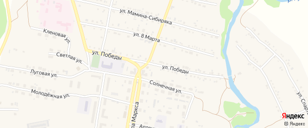 Улица Победы на карте поселка Магнитки Челябинской области с номерами домов