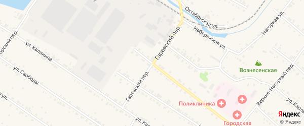 Гаревский переулок на карте Баранчинского поселка с номерами домов
