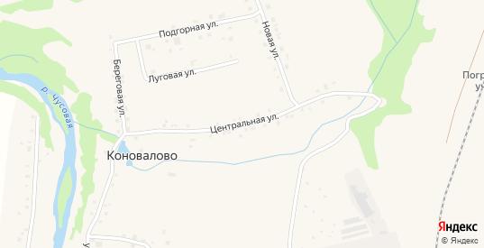 Центральная улица в деревне Коновалово в Первоуральске с номерами домов на карте. Спутник и схема онлайн