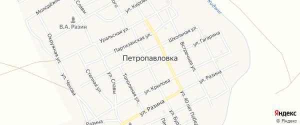 Улица Заречье на карте села Петропавловки Челябинской области с номерами домов
