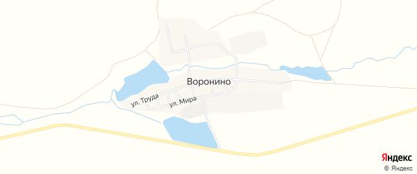 Карта села Воронино в Челябинской области с улицами и номерами домов