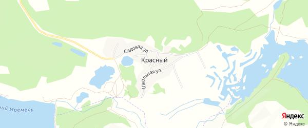 Карта Красного поселка города Миасса в Челябинской области с улицами и номерами домов