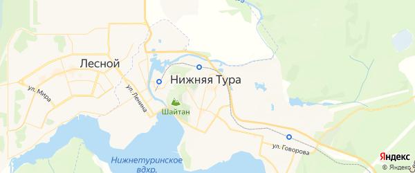 Карта Нижней Туры с районами, улицами и номерами домов: Нижняя Тура на карте России