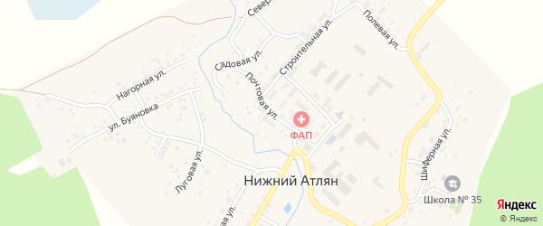 Почтовая улица на карте поселка Нижнего Атляна с номерами домов