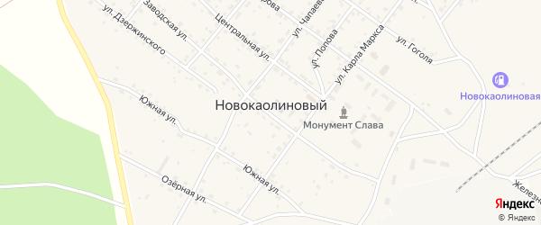 Железнодорожная улица на карте Новокаолинового поселка с номерами домов