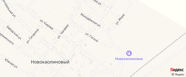 Улица Гоголя на карте Новокаолинового поселка с номерами домов