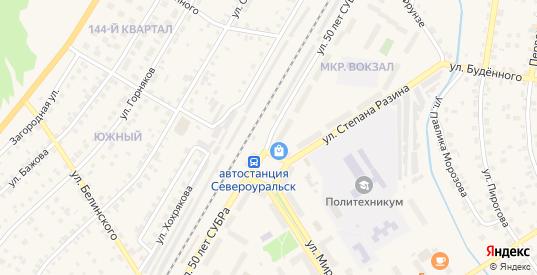 Улица 50 лет СУБРа в Североуральске с номерами домов на карте. Спутник и схема онлайн
