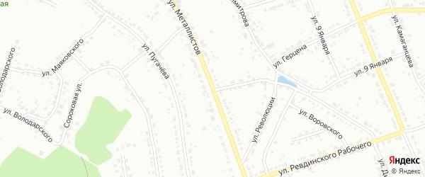 Улица Металлистов на карте Ревды с номерами домов
