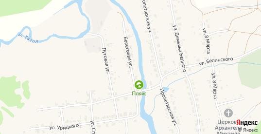 Береговая улица в Верхнем Тагиле с номерами домов на карте. Спутник и схема онлайн
