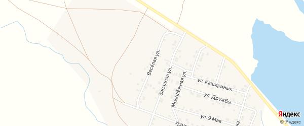 Веселая улица на карте Уйского села Челябинской области с номерами домов