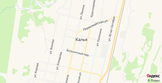 Карта поселка Калья в Североуральске с улицами, домами и почтовыми отделениями со спутника онлайн