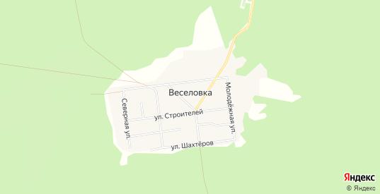 Карта поселка Веселовка в Карпинске с улицами, домами и почтовыми отделениями со спутника онлайн