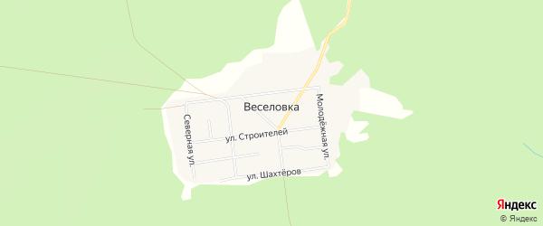 Карта поселка Веселовки города Карпинска в Свердловской области с улицами и номерами домов
