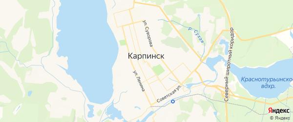 Карта Карпинска с районами, улицами и номерами домов