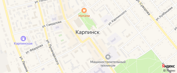 Проезд Свободы на карте Карпинска с номерами домов