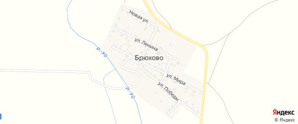 Садовая улица на карте деревни Брюхово Челябинской области с номерами домов